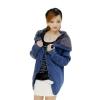 Ready4Girl เสื้อแจ็คเก็ตกันหนาว ไหมพรมถักลายนูนซับขนกระต่าย มีฮู้ด(สีน้ำเงิน)