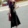 maxidress-ชุดเดรสยาว ใส่เที่ยว ทำงาน สีดำ แขนกุด ผ้า Cotton ด้านหลังแต่งตาข่าย กระโปรงพริ้ว ใส่ออกงานได้ เซ็กซี่ Asia Street Fashion
