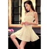Cyber Spaghetti Strap Women Chiffon Pleated Dresses Summer OffShoulder O Neck Sheer Dress ( Beige )