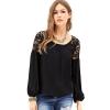 LALANG Long Sleeve Chiffon Lace Stitching Tops Blouse (Black)
