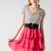 DRESS เดรสสั้น คอกลม ใส่ทำงาน ตัวเสื้อสีขาว ดำ กระโปรงสีชมพู ผ้า COTTON ชีฟอง ASIA STREET FASHION