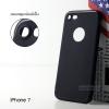 เคสสำหรับ iPhone 7 เคสนิ่ม TPU ผิวด้านสีเรียบ (ครอบคลุมส่วนกล้องยิ่งขึ้น+ที่ปิดช่องด้านล่าง) สีดำ (Show Logo)