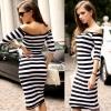 Half Sleeve Strapless Stripe Asia Dresseses (Black/White) - Intl