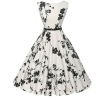 Buenos Ninos Women's Vintage 1950's Floral Spring Garden PartyPicnic Dresses For Women Party Cocktail Women - Dresses With Belt - Intl