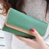 กระเป๋าสตางค์แฟชั่น พร้อมส่ง ด้านนอกสีเขียว ด้านในสีครีม ใบยาว DESIGN สุดเก๋ ลายหนังงู สวยหรู