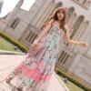 maxi dress ชุดเดรสยาว ใส่เที่ยว โทนชมพู ฟ้า ใส่ไปงานแต่ง ใส่ออกงานได้ น่ารัก สวยมาก