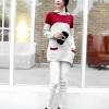 fashion เสื้อกันหนาวไหมพรมแฟชั่น คอปก สีแดง น่ารักๆ ใส่เที่ยว
