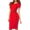 Lovaru Casual Short Sleeve Midi Asia Dresses For Women Trendy Fashion Style Online (Red)