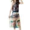 fashionstory เสื้อตัวยาวสวยๆ พิมพ์ลายเก๋ ผ้าชีฟองเนื้อนิ่มแบบเสื้อแขนกุดผ่าข้าง