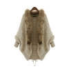 Gracefulvara Women's Loose Fur Collar Sweater Batwing Sleeve KnitCardigan Jacket Coat For Winter