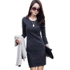 Long Sleeve Causal Slim Tunic Cocktail Dresses For Women Trendy Fashion Style Online (Grey)
