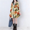 Sexy Womens Floral Linen Long Sleeve V-Neck Cute Party Mini Womens Dresses OnlineApricot
