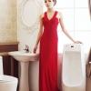 MAXI DRESS ชุดเดรสยาวแฟชั่น พร้อมส่ง สีแดง แขนกุด คอวีลึก เข้ารูป เปิดหลังเซ็กซี่สุดๆ