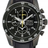 Seiko Sportura Chronograph Black Leather Strap Gents Watch SNAE67P1