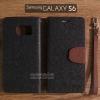 เคส Samsung Galaxy s6 เคสฝาพับ ทูโทน สีดำ/น้ำตาล พร้อมสายห้อย (มีช่องเก็บบัตรด้านใน)
