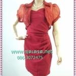 2211เสื้อผ้าแฟชั่น ชุดเดรสทำงานแดงคู่เสื้อกั๊กจับเดรฟข้างสะโพก ด้านหน้าอกเว้ารูปหัวใจและด้านหลังเข้าสม็อกสีแดงสดจีบข้างตีเกล็ดนมซ้ายชุดออกงานสั้นเปรี้ยว