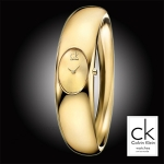 Calvin Klein Women's K1Y22209 'Exquisite' Goldtone Dial Goldtone Stainless Steel Large Bangle Watch