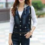 จั๊มสูทเสื้อและกางเกงยีนส์ พร้อมส่ง สียีนส์เข้ม เนื้อผ้ายีนส์มีความยืดหยุ่นได้ดี แบบใหม่สไตล์เกาหลี
