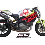 SC Project Full system Oval Black Steel for Ducati Monster 796