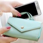 กระเป๋าสตางค์แฟชั่น สไตล์เกาหลี สีฟ้าอ่อน ใบยาว(รุ่นใหม่) แต่งมงกุฎ งานสวยน่ารัก น่าใช้มากๆค่ะ