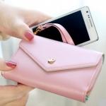 กระเป๋าสตางค์แฟชั่น สไตล์เกาหลี สีชมพูอ่อน ใบยาว(รุ่นใหม่) แต่งมงกุฎ งานสวยน่ารัก น่าใช้มากๆค่ะ