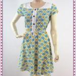 1332เสื้อผ้าแฟชั่น ชุดเดรสทำงานลายผีเสื้อคอเขียวเหลืองสลับปกแต่งขาวสไตล์สาวหวานสดใสกระโปรงย้วยมีซับใน ทำจากผ้าเนื้อนิ่มพริ้วมีซับในตกแต่งลวดลายสดใสสวมใส่ทำงานหรืองานเลี้ยง สไตล์สาวหวาน