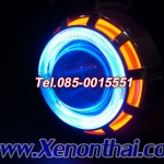 ไฟโปรเจคเตอร์รถมอเตอร์ไซค์แบบ LEDความสว่างสูงพร้อมไฟวงแหวน2ชั้น