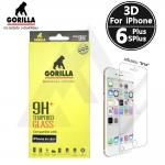 กระจกนิรภัยระดับฟรีเมี่ยม Gorilla Tempered Glass 3D Real Curved iPhone 6 Plus / 6S Plus - ( ชนิดใส เสริมขอบยาง )