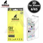 กระจกนิรภัยระดับฟรีเมี่ยม Gorilla Tempered Glass 3D Real Curved iPhone 6 / 6S - ( ชนิดใส เสริมขอบยาง )