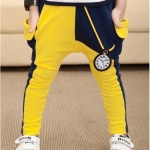 กางเกงแฟชั่นขายาวสีเหลืองดำ