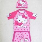 ชุดว่ายน้ำ kitty เสื้อ+กางเกง+หมวก สีชมพู