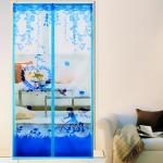 มุ้งประตูแม่เหล็ก สีฟ้า ลายคู่รัก ขนาด 90x210 ซม. แม่เหล็ก้อน และเส้นแม่เหล็กในตัว