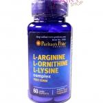 Puritan Pride 3L L-arginine L-ornithine L-lysine(Triamino) นำเข้าจากอเมริกา 1กระปุก บรรจุ 60 แคปซูล ส่งฟรี ลทบ.
