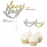 Cake Decorations ป้ายปักตกแต่งเค้ก Love สีทอง