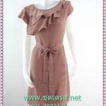 1825เสื้อผ้าแฟชั่น ชุดเดรสทำงานชีฟองสีนู๊ดคอกลมระบายด้านหน้าสลับชั้นเรียบหรูชุดหลวมผูกโบเอวเข้ารูปทิ้งตัวเพรียวสวยงาม