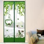 มุ้งประตูแม่เหล็ก สีเขียว ลายคู่รัก ขนาด 90x210 ซม. แม่เหล็ก้อน และเส้นแม่เหล็กในตัว
