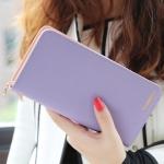 กระเป๋าสตางค์แฟชั่น พร้อมส่ง สีม่วง ด้านในแต่งด้วย สีชมพู น่ารัก ทรงเรียบหรู ใบยาว DESIGN สุดเก๋ ไฮโซมากๆ แต่งด้วยจี้หัวใจ น่ารักๆ
