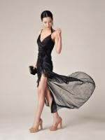 MAXI DRESS ชุดเดรสยาวแฟชั่นสายเดี่ยว SEXY สีดำ ผ้าตาข่าย แต่งดอกไม้ สวยมาก ใส่ออกงานกลางคืนได้ ASIA STREET FASHION