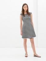 dress ชุดเดรส ลายทาง กระโปรงกลีบใหญ่ สีกรมท่า ขาว ใส่เที่ยว ใส่ทํางาน แขนกุด น่ารัก