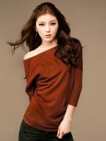 T-SHIRT เสื้อยืดแฟชั่น สีแดงอมส้ม ผ้าคอตตอน ใส่สบาย ใส่เที่ยวชิวๆ น่ารัก ASIA STREET FASHION