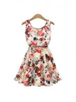 Fancyqube Novelty Dresses For Women Trendy Fashion Style Onlinees Round Neck Florals Print Shop Fashion Dresses Online Apricot