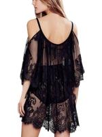 Women Lace Off-Shoulder Mini dress Black S-2XL