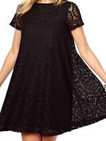 Acecharming Women Hollow Lace Crochet Short Sleeve Floral PartyMini Swing Ladies Dresses Shirt Tops (Black)