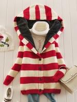 Ready4Girl เสื้อโค้ทกันหนาวไหมพรมนิ่มลายขวาง มีฮู้ด ซับขนกระต่าย(สีแดง)