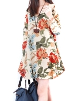 New Sexy Womens Floral Linen Long Sleeve V-Neck Cute Party EveningShort Mini Womens Dresses Online Apricot
