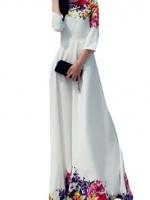 Loose Printing Maxi Women is Fashion Dresses (White)