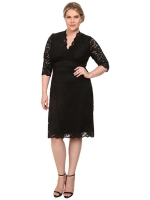 European and American women's large size 2016 spring V-neck SexySlim lace dress(Black)- Intl