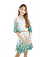 Fashionstory ร้านขายชุดเดรสแฟชั่นออนไลน์ พิมพ์ลายดอกไม้ - สีขาว
