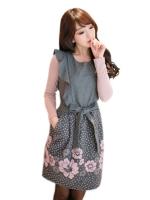 Chu ViVi เดรสแฟชั่นเกาหลีตัดเย็บด้วยผ้าชีฟอง กระโปรงลายดอก (สีเทา)