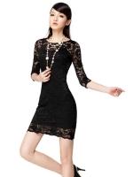Allwin Women Lady Fashion Charm Beautiful Lace Sexy Slim CocktailBlack Dresses For Women Trendy Fashion Style Online Black